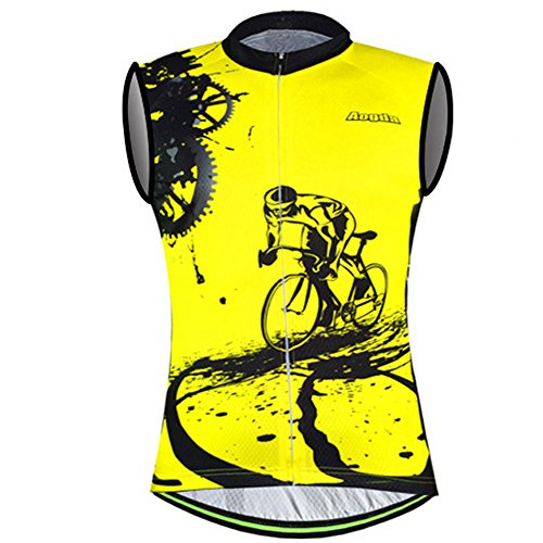 Sleeveless Cycling Jersey Aogda Men Bicycle Bike Shirts Vest Clothing Biking Bicycle Bib Shorts (Yellow Vest Jerseys, XL)