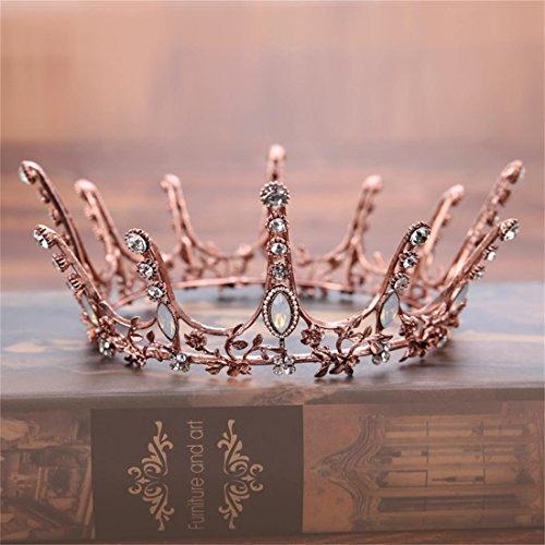 FUMUD Vintage Black Rhinestone Beads Round Crown Wedding Hair Accessories Vintage Queen King Crowns Bridal Tiaras (Retro)