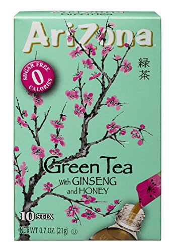 AriZona Green Tea with Ginseng Sugar Free Iced Tea Stix, 10Countper Box (Pack of 6), Low Calorie Single Serving Drink Powder Packets, Just Add Water for a Deliciously Refreshing Iced Tea Beverage ()