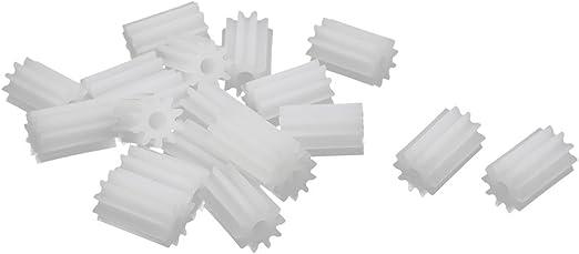 20 Pcs 6mm x 2mm 10 Teeth Plastic Gear Wheel for Toy Car Motor Shaft