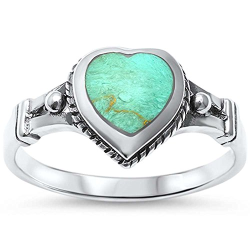 Green Turquoise Heart (Sterling Silver Simulated Green Turquoise Heart Celtic Ring Sizes 9)