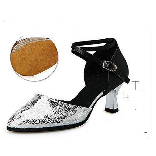 Ferse Sandalen T Tanzschuhe Rosa T Salsa Jazz Latin Swing Performance Q Innen Frauen Silber Flache Satin Silber Praxis Tango Volle Sohle Ballett fwwOzqB