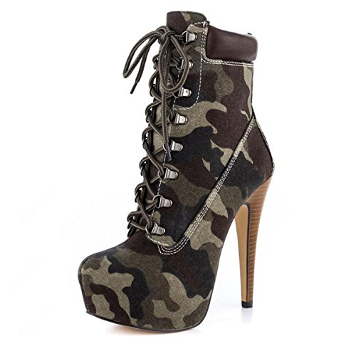 JOOGO Round Toe Shoespie Rivets Lace up Ankle Boots Dark Camouflage US9.5