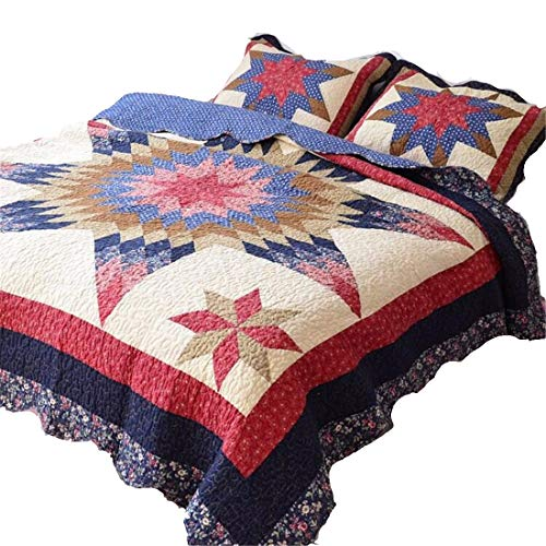- Jameswish Embroidery Quilt Set 100% Cotton Comfortable Floral Comforter Set Heavy-Duty Soft Bedspread Washable 1Quilt 2Pillowshams King Queen Size