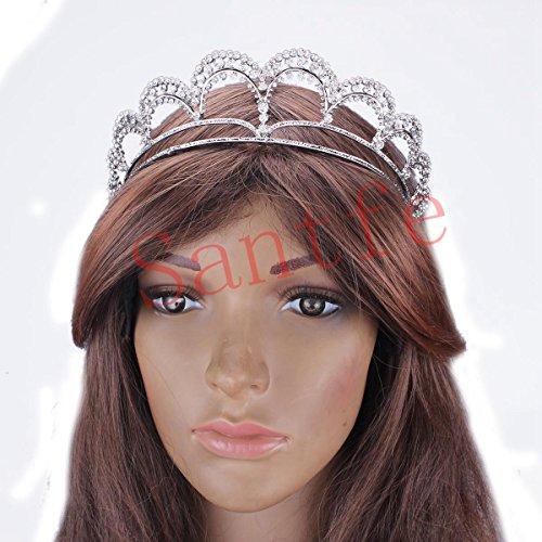 Santfe 1,7'' Haute Diadème de Mariée Cristal Strass Couronne Princesse Tiare en Forme de Vagues Bijoux de Cheveux Serre-tête Nuptial pour Mariage, Soirées, Princesse Parties, Anniversaire