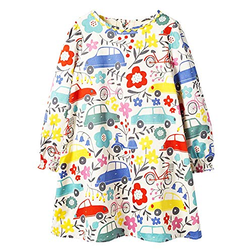 Girls Cotton Long Sleeve Dress,Toddler Floral Printed Casual Basic Dresses Baby Girls Animal Stripe Cartoon Clothes]()