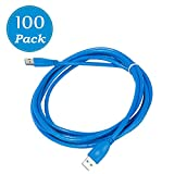 Universal Plug-and-Play USB 3.0 cable Male-Male Blue 10 Feet 100-Pack