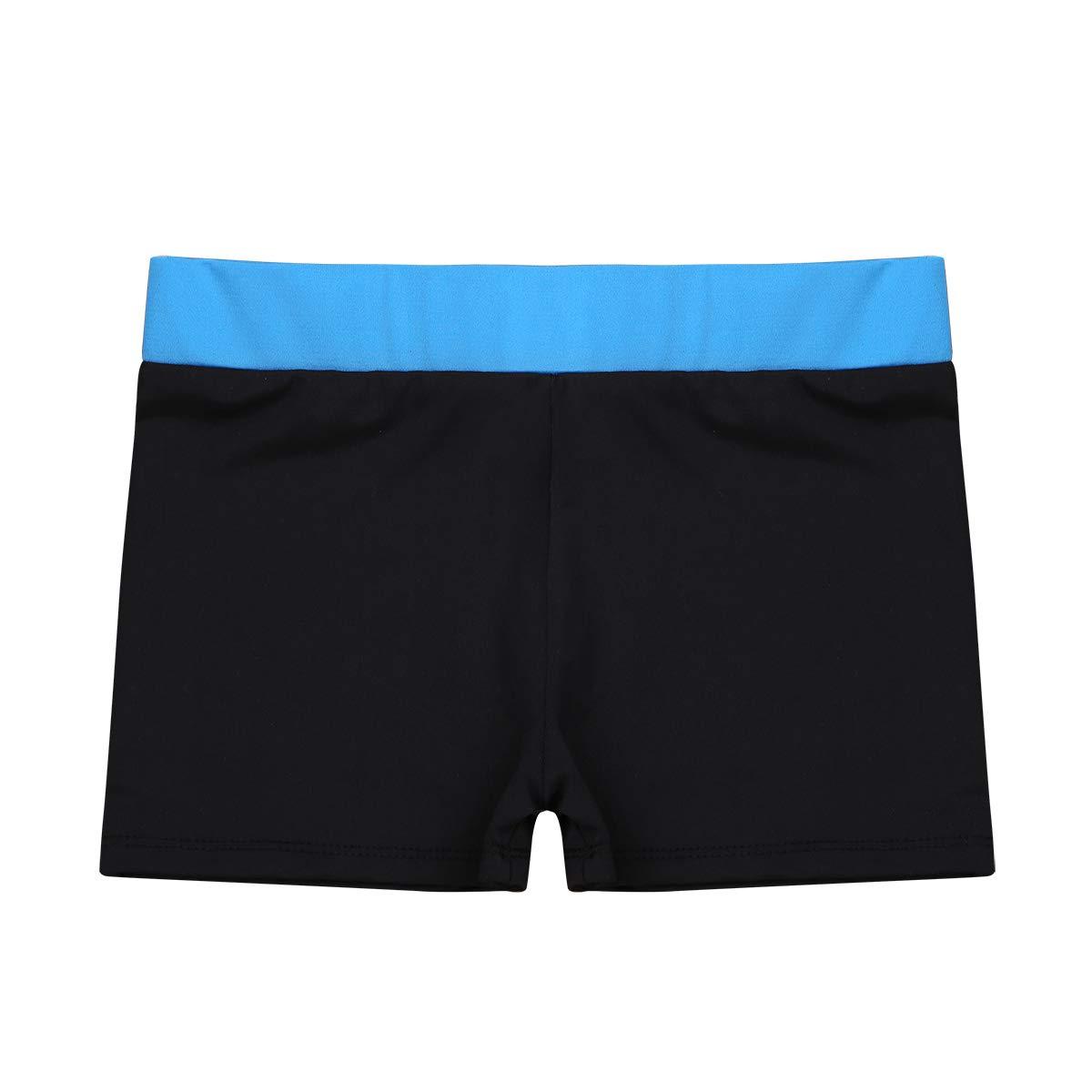 CHICTRY Girls Children Basic Boy Cut Low Rise Short for Dance Sport or Under Dress/Skirt Shorts Z Blue&Black 5-6
