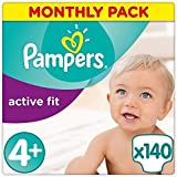 Pampers Premium Protection Active Fit Nappies, Monthly Saving Pack - Size 4+, 140 Nappies