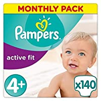 Pampers Active Fit 140 Nappies with Absorbing Channels, 9-18 kg, Size 4+