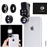 Camera Lens Kit with LED Light for Mobile Phone/Tablet - Universal - Fisheye, Wide Angle and Macro Lens - Amazing Upgrade for Apple iPhone, Samsung Galaxy and More (not Suitable for iPhone 8/7 Plus)