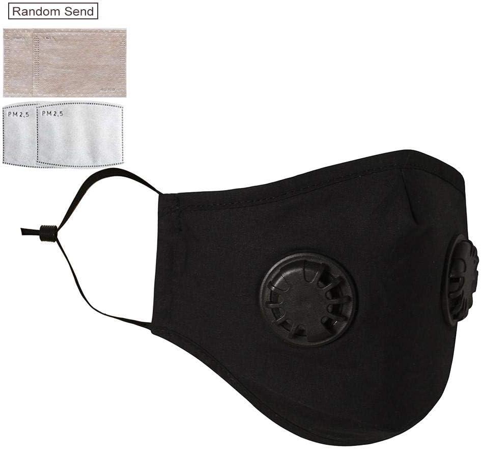 iBellete Nuevo Juego de mascarillas Antipolvo con Doble válvula Máscara de Filtro Antipolvo Reutilizable Protector Solar Cubierta Facial para Montar a Correr Senderismo