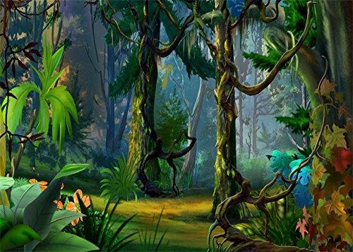 Jungle Tree Backdrop - Leowefowa 10X8FT Fairytale Jungle Forest Backdrop