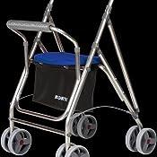 Andador para personas mayores | Rollator de aluminio con asiento | Andador de aluminio plegable | Color gris