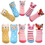 Cheap Toddler Girls Non-skid Socks with Grips Cute Cartoon Animal Ankle Socks for 12-36 Months Infant Gift ,Pack of 5