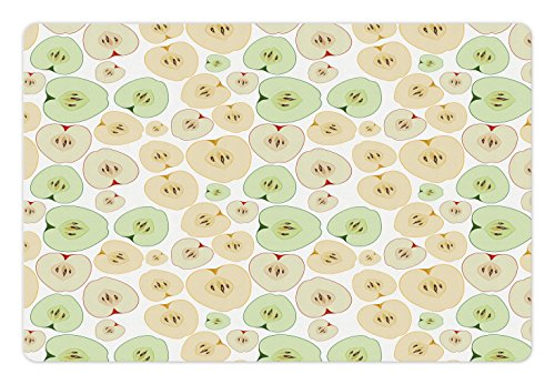 Ambesonne Apple Pet Mat for Food and Water, Fruits Cut in Half Cores and Seeds of Apples Refreshing Vegetarian Options Abstract, Rectangle Non-Slip Rubber Mat for Dogs and Cats, Multicolor (Bowl Cor Fruit)