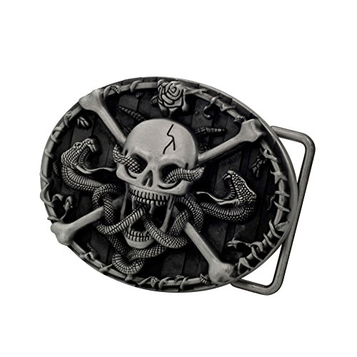 [Buckle Rage Adult Mens Skull & Crossbones with Snakes Western Belt Buckle Silver] (Mens Oval Belt Buckle)