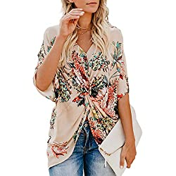 ZKESS Women's Fashion 2019 Casual Summer Boho Flare Short Sleeve Floral Tunic Tops for Women V Neck Twist Tops Shirts Chiffon Blouse Apricot XL