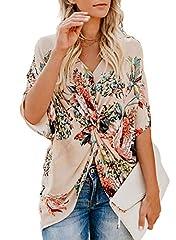 FARYSAYS Women's Floral Print Short Sleeve V Neck Twist T-Shirt Tops Casual Blouse