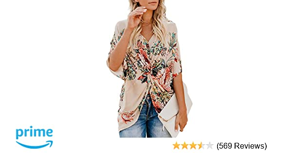 96a1940197227 FARYSAYS Women's Floral Print Short Sleeve V Neck Ruched Twist Tops Loose  Casual Blouse Shirts