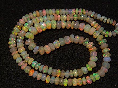 (1 Strand Natural Ethiopian Opal Bead, Welo Opal, Faceted Ethiopian Opal Beads, Rondelle Beads, 4.5mm to 5.5mm Beads, 2 inch)