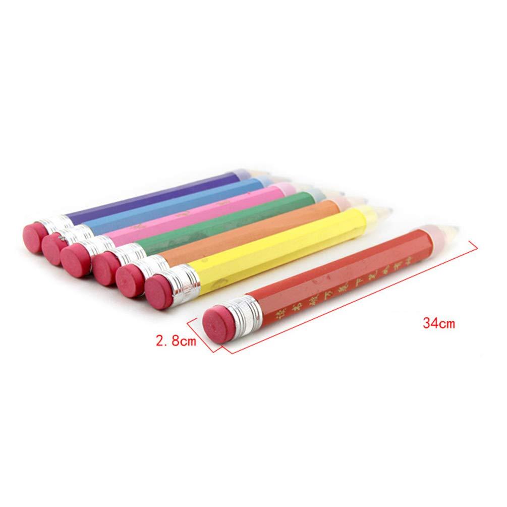 HUPLUE Lot de 7/Crayon Crayon g/éant Champion d/école Papeterie Crayon avec Gomme Dessus pour /étudiant