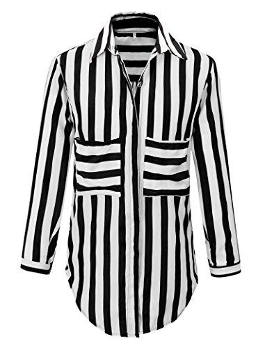 Benibos Women's White Black Striped Turn Down Collar Loose T-Shirt (M) (Beetle Juice Costume)