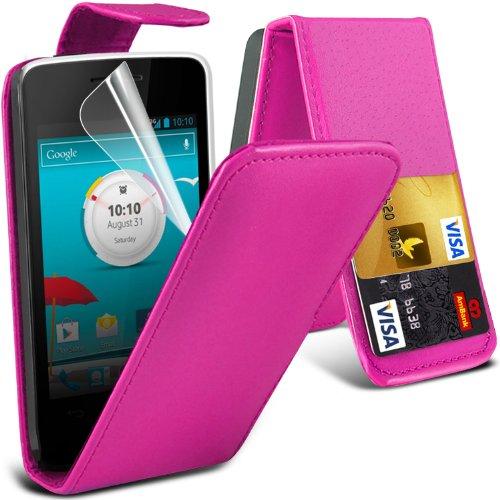( Hot Pink ) Vodafone Smart 4 Mini Premium Faux Credit / Debit Card Slot Leather Flip Skin Case Cover & LCD Screen Protector Guard by Fone-Case