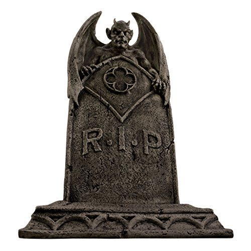 Design Toscano DB160282 The Vampire Demon Halloween Tombstone Gothic Decor Garden Graveyard Statue, 22 Inch, Greystone -