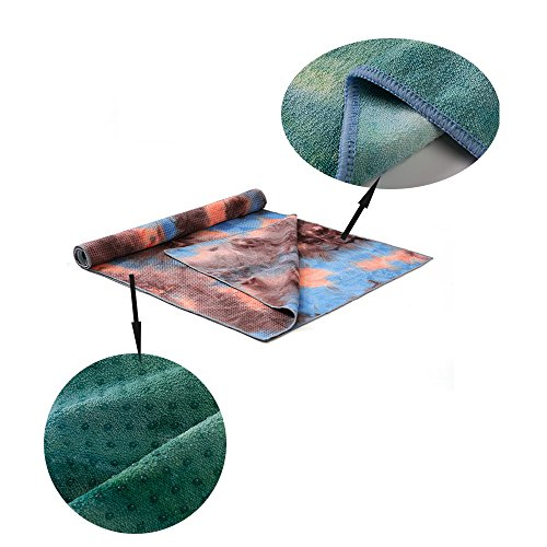 OTJ Portable Carry Yoga Mats Towel 4MM Tie-dye Colorful Anti Slip Silicone Exercise Mat Blanket Workout Mats Travel Pad Fitness Products Foldable +Bag (Brown)