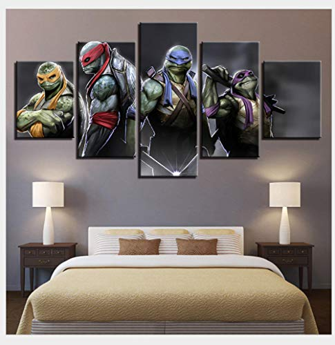 Aizhyen Canvas Oil Painting DIY Wall Art Wulian Painting - Home Decoration Print Decorative Pictures - Teenage Mutant Ninja Turtles-Framed -