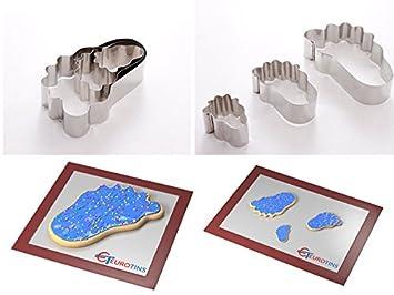 Euro Tins - Lote de 3 moldes para Cortar Galletas con Forma de pie: Amazon.es: Hogar