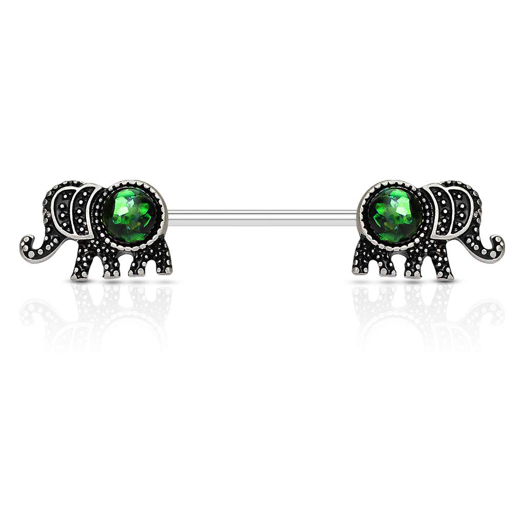 Covet Jewelry Elephant with Opal Glitter Set 316L Surgical Steel Nipple Barbells