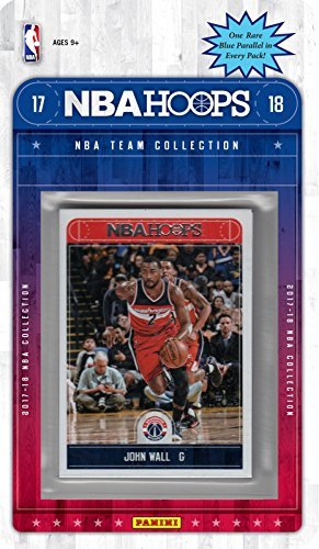 fan products of Washington Wizards 2017 2018 Hoops NBA Basketball Brand New Factory Sealed 8 Card NBA Licensed Team Set with John Wall Bradley Beal Plus