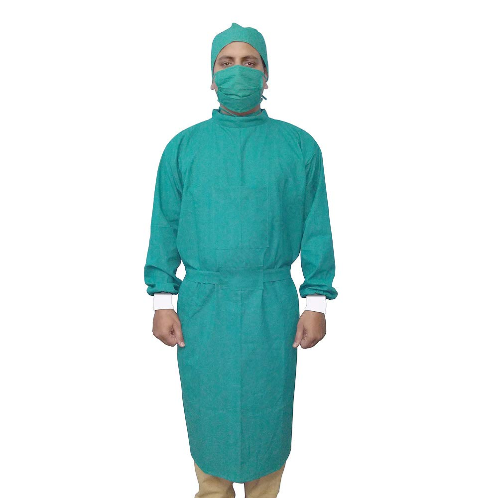 IS IndoSurgicals Reusable Cotton Surgeons Gown Set with Face Mask and Cap  (Green): Amazon.in: Industrial & Scientific