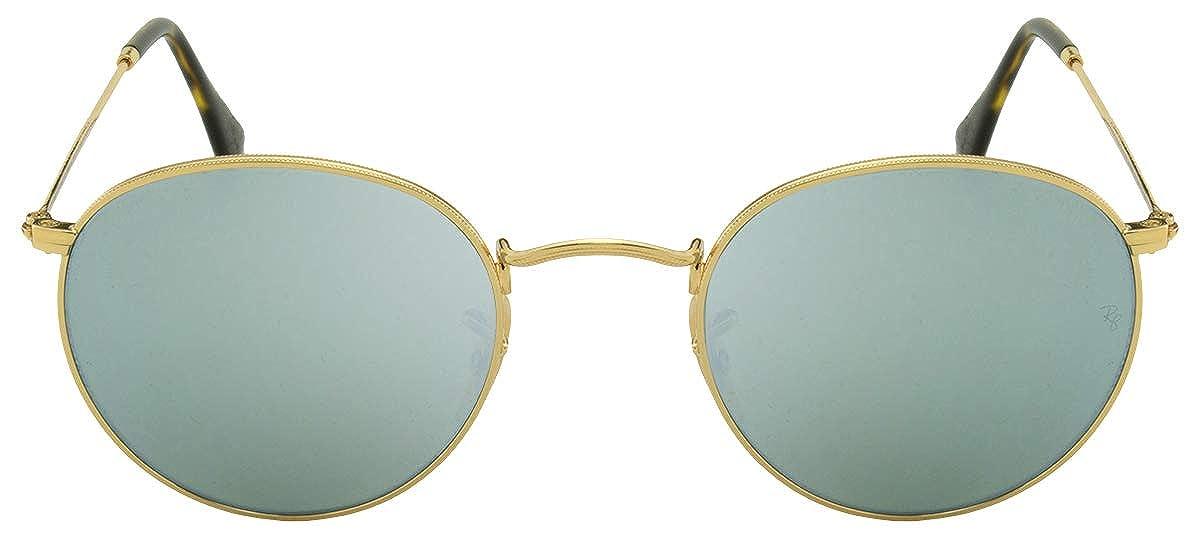 Ray-Ban Gafas de sol de lente plana redonda en Flash plata ...