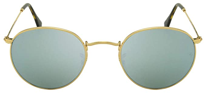 021daa4a56b Ray-Ban Round Flat Lens Sunglasses in Gold Silver Flash RB3447N 001 30 50  50 Silver Flash Mirror  Amazon.co.uk  Clothing
