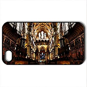 architecture,organic,symmetry - Case Cover for iPhone 4 and 4s (Religious Series, Watercolor style, Black)