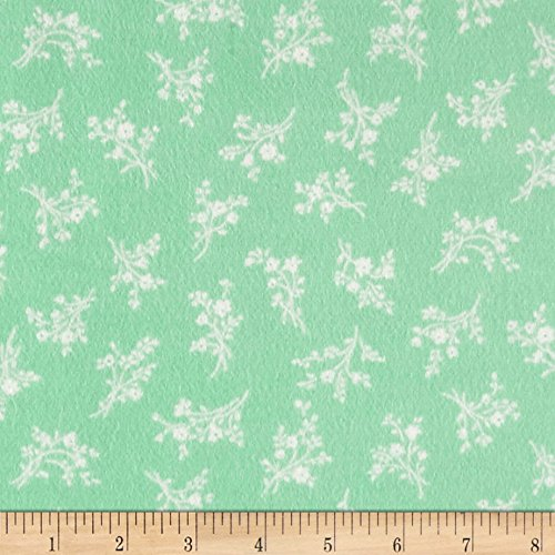 Afternoon In The Attic Flannel Cameo Blossom Mint Fabric By The (Attic Fabric)
