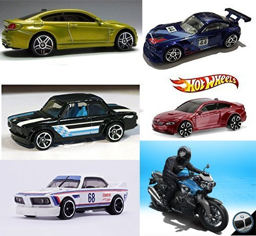 BMW 2016 Hot Wheels Collection + M4 Series Gold & Red / Z4 / 2002 /K 1300 R Motorcycle Blue / '73 3.0 Race 6 Car Set