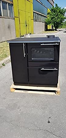 Estufa de leña para cocinar, chaqueta de agua, parte trasera, cocina, horno, color negro, 9 kW, PLAMAK BO