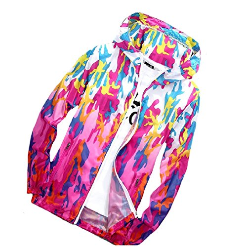 zip Full AS8 Colorful Guards Outwear Women's Jackets Rash Beachwear Mogogo Hood Camouflage fH1x5qw