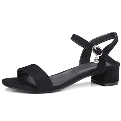 61566db42c2 SaraIris Women s Chunky Simple Mid Heel Open Toe Shoe Ankle Strap Dress  Sandals Black