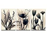 Visual Art Decor Flowers Canvas Wall Art Decor Black and White Floral Painting Prints Photograph Picture Printed on Canvas Framed and Ready to Hang Wall Decoration Decor (Flower 16''x24''x3)