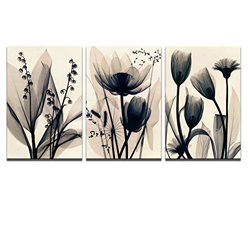 Visual Art Decor Flowers Canvas Wall Art Decor Black and White Floral Painting Prints Photograph Picture Printed on Canvas Framed and Ready to Hang Wall Decoration Decor (Flower 16