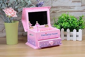 Udane Vacaciones de cumpleaños Caja de música giratoria Girl Dress de la casa de la Amistad con el Espejo de Maquillaje para Gift-Pink: Amazon.es: Juguetes y juegos