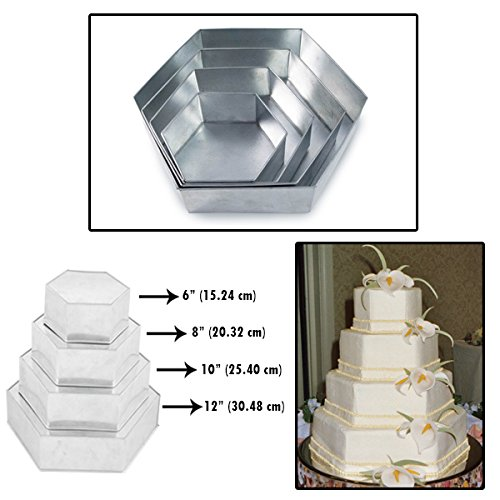 Set of 4 Tier Hexagon Multilayer Birthday Wedding Anniversary Cake Tins / Pans / Mould by Falcon