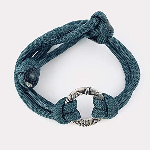 Bracelet Of Circle Friendship (Teal Good Vibes Beach Bracelet, for Women & Men, Mermaid, Surfer, Ocean Lover, Friendship, Bridal Groups, Circle, Sterling Silver)