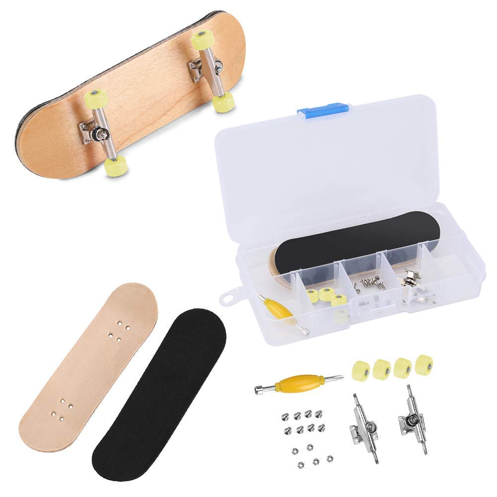 Black Professional Mini Alloy Complete Wooden Maple Deck with Box Reduce Pressure Kids Gifts Zerodis Fingerboard Finger Skateboards
