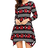 WOCACHI Final Clear Out Christmas Womens Mini Dresses Long Sleeve Cozy Dress Xmas Tunic Tops Black Friday Cyber Monday Winter Warm Autumn Reindeer Snowflake Above Knee Length Red